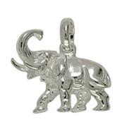 Anhänger Elefant in echt Sterling-Silber 925 weiß, Charm, Kettenanhänger oder Bettelarmband-Anhänger