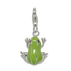 Anhänger Frosch in echt Sterling-Silber 925 grün lackiert, Charm mit Karabiner, hochwertiger Ketten- oder Bettelarmband-Ein-/Anhänger