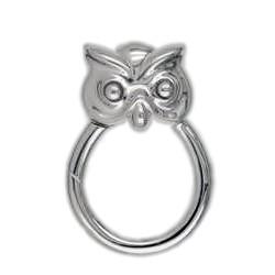 Federring Eule, Schlüsselring mit Schnappverschluss, Schlüsselmechanik in Silber 925/000 für Anhänger