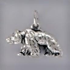 Anhänger Tibet-, Mond-, Kragenbär in Silber oder Gold, Charm, Kettenanhänger oder Bettelarmband-Anhänger