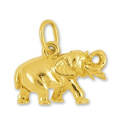 Anhänger Asiatischer Elefant in echt Sterling-Silber oder Gelbgold, Charm, Kettenanhänger oder Bettelarmband-Anhänger, flachplastisch