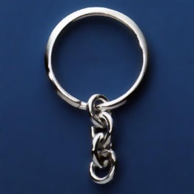 Spaltring, Schlüsselring mit Kette, Schlüsselmechanik in Sterling-Silber 925/000 oder Gelbgold 333, 585 oder 750/000 für Anhänger