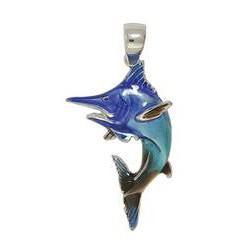 Anhänger Schwertfisch in echt Sterling-Silber 925 emailliert, Ketten- oder Schlüssel-Anhänger