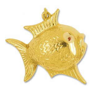 Anhänger Kugelfisch in echt Gelbgold 375, 585 oder 750, Kettenanhänger oder Schlüssel-Anhänger
