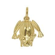 Anhänger Frosch in echt Sterling-Silber 925 weiß oder Gelbgold, Charm, Ketten- oder Bettelarmband-Anhänger