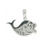 Anhänger Walfisch in echt Sterling-Silber weiß oder Gelbgold, Charm, Kettenanhänger oder Bettelarmband-Anhänger
