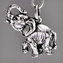 Anhänger Waldelefant in echt Sterling-Silber oder Gelbgold, Charm, Kettenanhänger oder Schlüssel-Anhänger