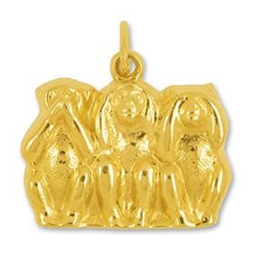 Anhänger 3 Affen, Glücksbringer, Nichts sehen, nichts hören & nichts sagen, Minai, Kikanai, Iwanai in echt Gelb-Gold, Charm, Kettenanhänger oder Bettelarmband-Anhänger
