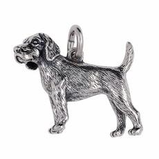 Anhänger Beagle, Hund in echt Sterling-Silber 925 oder Gold, Ketten- oder Schlüssel-Anhänger