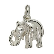 Schlüsselanhänger Elefant in echt Sterling-Silber weiß oder Gelbgold, Kettenanhänger