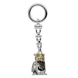 Schlüsselanhänger Eule in echt Sterling-Silber 925 weiß emailliert inklusive Sprengring, Lauföse und Kette