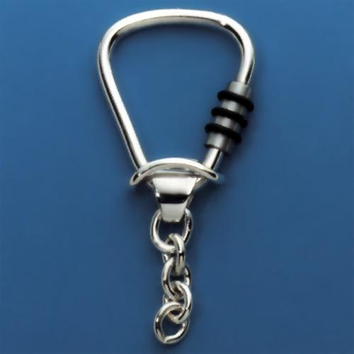 Schlüsselring Triangel mit Ankerkette & Schraubverschluss, Schlüsselmechanik in Sterling-Silber 925/000 für Anhänger