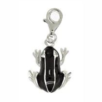 Anhänger Frosch in echt Sterling-Silber 925 schwarz-weiß lackiert, Charm mit Karabiner, hochwertiger Ketten- oder Bettelarmband-Ein-/Anhänger