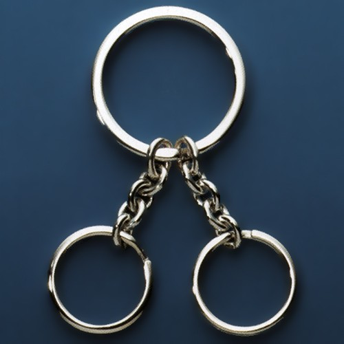 Sprengring mit zwei Schlüsselringen und Ankerketten, Schlüsselmechanik in Sterling-Silber 925/000 oder Gelbgold 333, 585 oder 750/000 für Anhänger