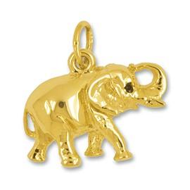 Anhänger Indischer Elefant in echt Sterling-Silber oder Gelbgold, Charm, Kettenanhänger oder Bettelarmband-Anhänger, flachplastisch