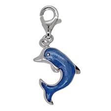Anhänger Delfin, Delphin in echt Sterling-Silber mit Lack-Email und Karabiner, Charm, Kettenanhänger oder Bettelarmband-Anhänger
