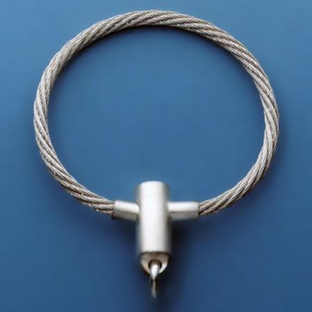 Seil-Schlüsselring, Schlüsselmechanik mit Druck-Schraubverschluss in echt Silber 925 für Anhänger