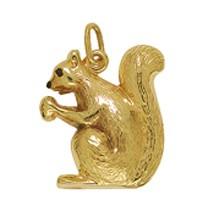 Anhänger Eichhörnchen in echt Gelbgold 375, 585 oder 750, Charm, Kettenanhänger oder Bettelarmband-Anhänger