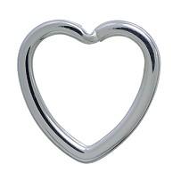 Spaltring-Herz-Karabiner, Schlüsselring, Schlüsselmechanik in echt Silber 925 für Anhänger.