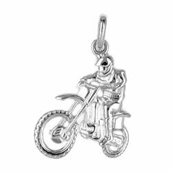 Anhänger Motocross-Motorrad mit Fahrer in echt Sterling-Silber 925 oder Gold, Charm, Ketten- oder Bettelarmband-Anhänger