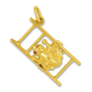 Anhänger Frosch auf Leiter in echt Gelbgold mattiert, Charm, Ketten- oder Bettelarmband-Anhänger