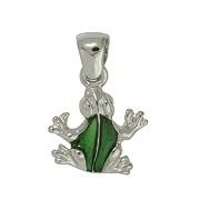 Anhänger Frosch in echt Sterling-Silber grün emailliert, Ketten- oder Schlüssel-Anhänger