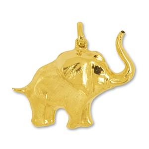 Anhänger Elefant in echt Gelbgold matt, Charm, Kettenanhänger oder Bettelarmband-Anhänger