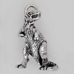 Anhänger Dinosaurier, Tyrannosaurus rex in echt Sterling-Silber oder Gelbgold, Kettenanhänger oder Schlüssel-Anhänger