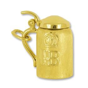 Anhänger HB Bierkrug, Hofbräuhaus München in echt Gold, Charm, Ketten- oder Bettelarmband-Anhänger