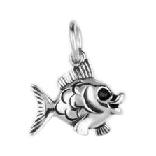 Anhänger Goldfisch in echt Sterling-Silber, Gelb- oder Weißgold, Charm, Kettenanhänger oder Bettelarmband-Anhänger