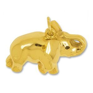 Anhänger Elefant in echt Gelbgold, Charm, Kettenanhänger oder Bettelarmband-Anhänger