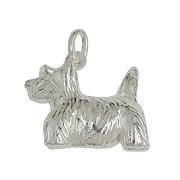 Anhänger Terrier, Hund in echt Sterling-Silber 925, Charm, Ketten- oder Bettelarmband-Anhänger