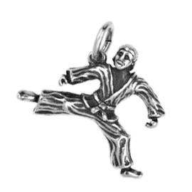 Anhänger Karate-, Judo-Kämpfer in echt Sterling-Silber 925 oder Gold, Charm, Ketten- oder Bettelarmband-Anhänger