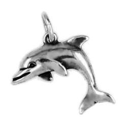 Anhänger Delfin, Delphin in echt Sterling-Silber oder Gelbgold, Charm T188, Kettenanhänger oder Bettelarmband-Anhänger