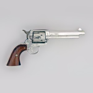 "Zierfigur Colt Single Action Army Revolver 45 ""1886"" - The Peacemaker in echt Sterling-Silber 925, Miniatur, Standmodell"