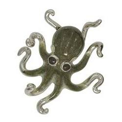 Zierfigur Krake in echt Sterling-Silber 925 emailliert, Standmodell