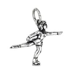 Anhänger Eiskunstläuferin in echt Sterling-Silber 925 oder Gold, Charm, Ketten- oder Bettelarmband-Anhänger