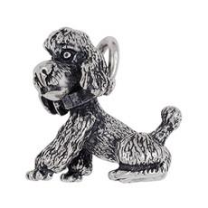 Anhänger Pudel, Hund sitzend in echt Sterling-Silber 925 oder Gold, Ketten- oder Schlüssel-Anhänger