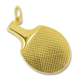 Anhänger Tischtennisschläger in echt Gold, Charm, Ketten- oder Bettelarmband-Anhänger
