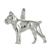 Anhänger Boxer, Hund in echt Sterling-Silber 925 oder Gelbgold, Ketten- oder Schlüssel-Anhänger