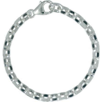 Armband / Ankerkette facettiert j283 mit Schmuck-Karabiner-Verschluss und beweglicher Öse in Silber 925/000 für Anhänger oder Charms
