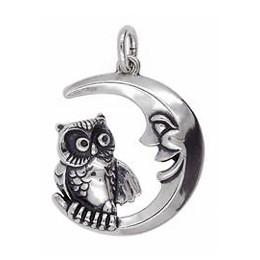 Anhänger Eule mit Mond in echt Sterling-Silber 925 oder Gold, Ketten- oder Schlüssel-Anhänger