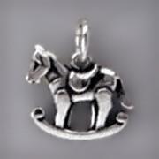 Anhänger Schaukelpferd in echt Sterling-Silber 925 oder Gold, Charm, Ketten- oder Bettelarmband-Anhänger