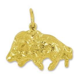 Anhänger Wildschwein in echt Gelbgold, Charm, Ketten- oder Bettelarmband-Anhänger