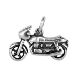 Anhänger Motorrad in echt Sterling-Silber 925 oder Gold, Charm, Ketten- oder Bettelarmband-Anhänger