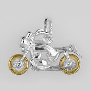 Anhänger Motorrad in echt Sterling-Silber 925 bicolor, teilvergoldet, Charm, Ketten- oder Bettelarmband-Anhänger