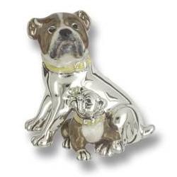 Zierfigur Bulldogge mit Baby, Hunde in echt Sterling-Silber 925 emailliert, Standmodell