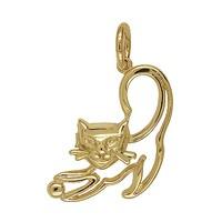 Anhänger Katze in echt Sterling-Silber 925 oder Gelbgold, Ketten- oder Schlüssel-Anhänger