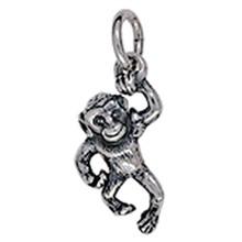 Anhänger Affe in Silber oder Gold, Charm T168, Kettenanhänger oder Bettelarmband-Anhänger