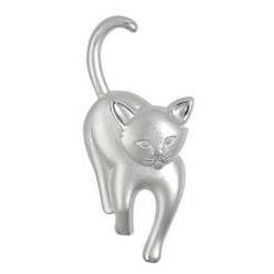 Brosche Katze in echt Sterling-Silber 925 weiß mattiert